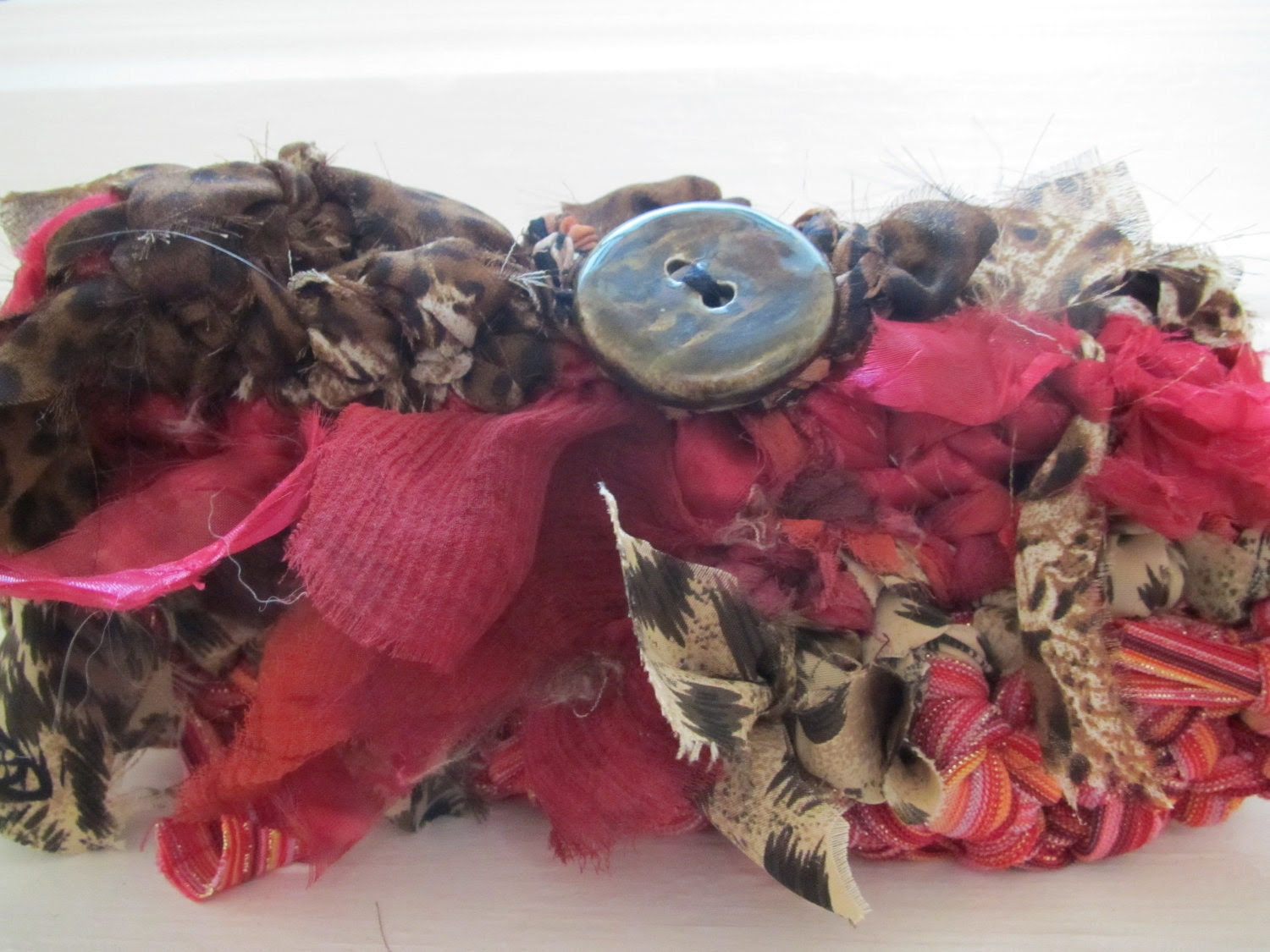 """One of a Kind """"Mini Clutch"""" style TeeBag, Pinks and Browns with Animal Print created from recycled apparel."""