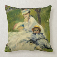 Madame Monet and her Son by Auguste Renoir throwpillow