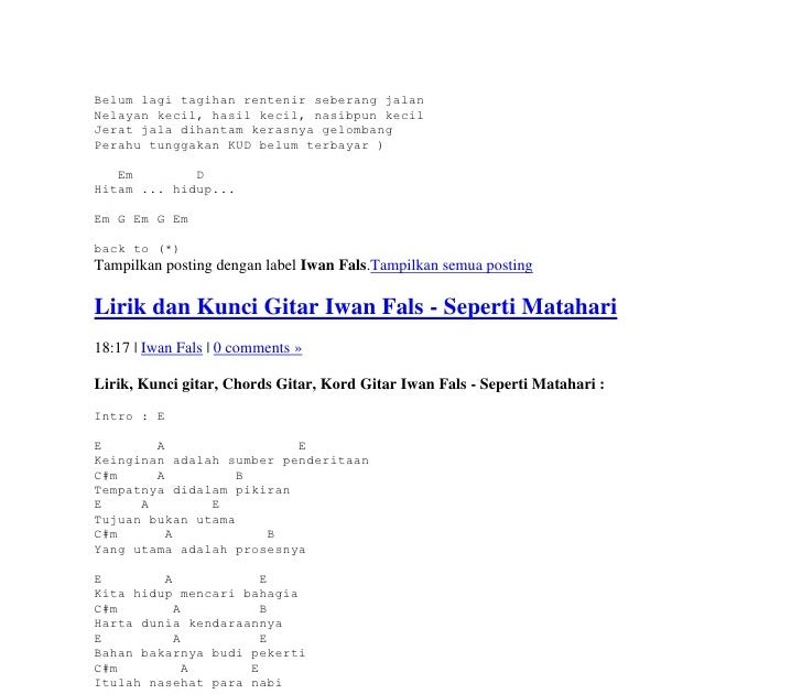 Chord Gitar Anji Cinta Dia: Kunci Gitar 17 Agustus.com