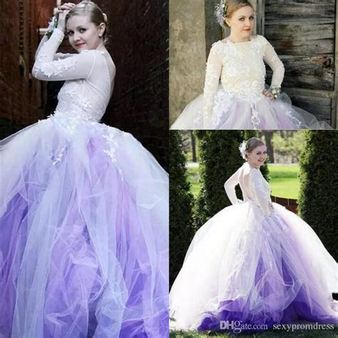 Amazing Light Purple And White Tulle Bridal Gowns Sexy