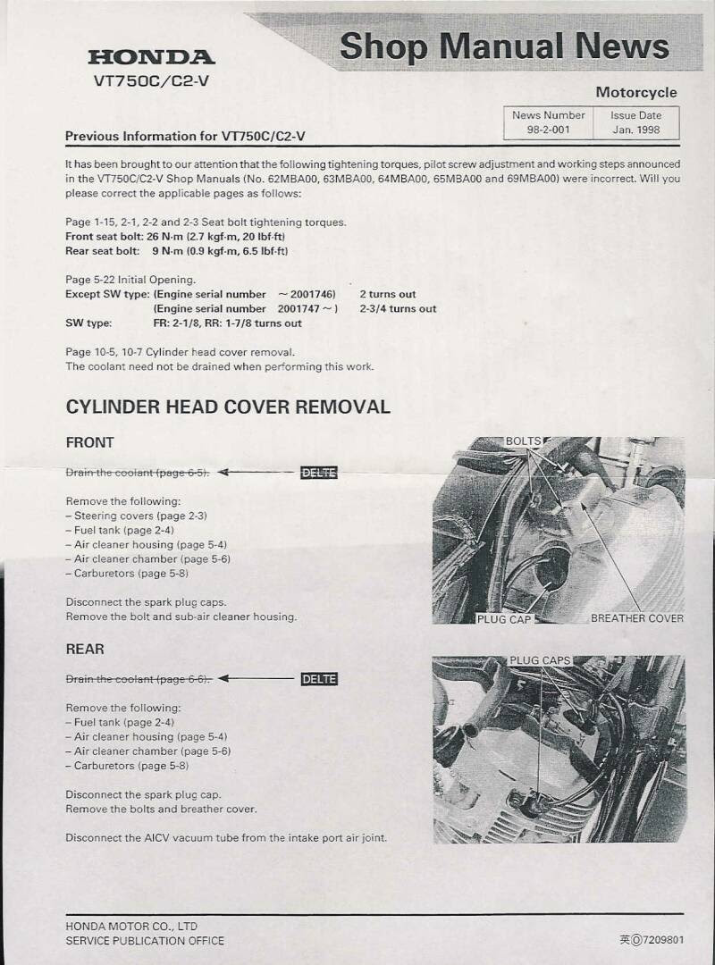 2009 Honda Shadow Spirit 750 Valve Adjustment Process