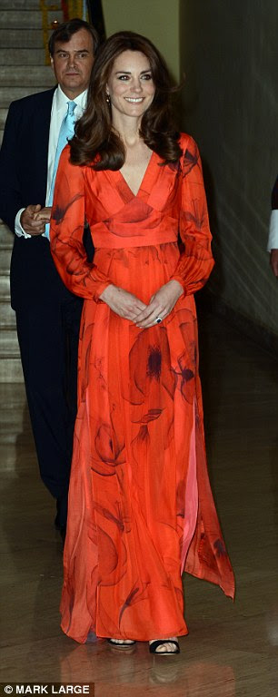 You can't go wrong with florals; the Duchess of Cambridge has trialled the trend by wearing a bold red poppy emblazoned evening dress, left, as well as a more subtle black gown embellished with intricate flower prints, right