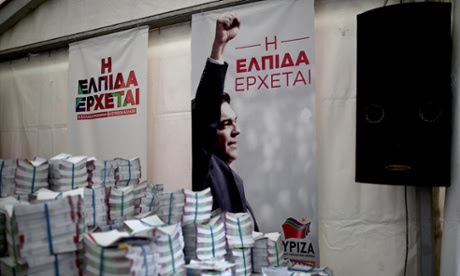 The Syriza party's poster reads 'the hope is coming' in an election campaign kiosk in Athens.
