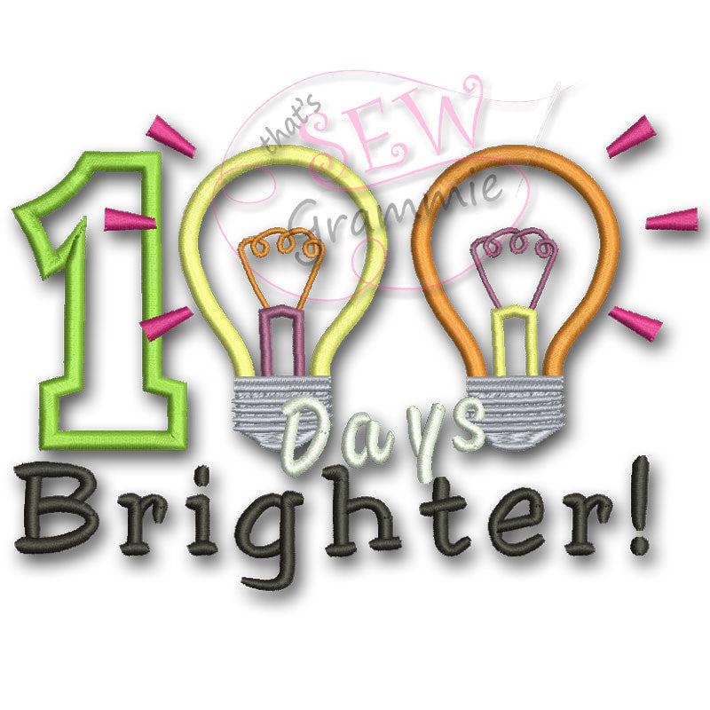 Download 100 Days Brighter Applique Design Sewgrammie