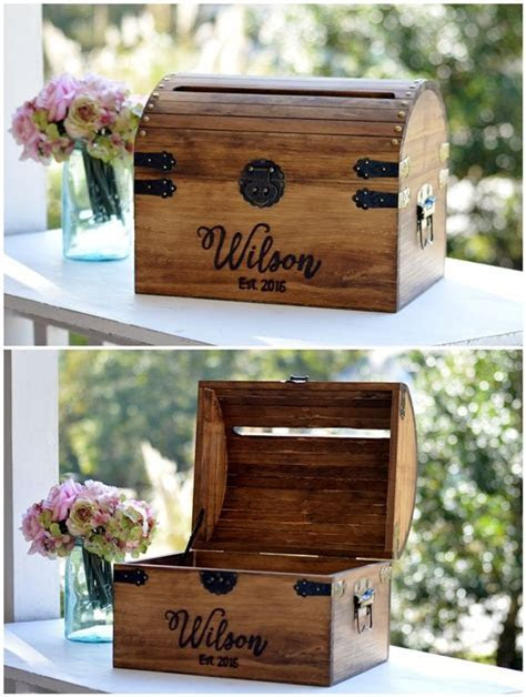 Personalized Wedding Card Box, Wood Wedding Card Box With