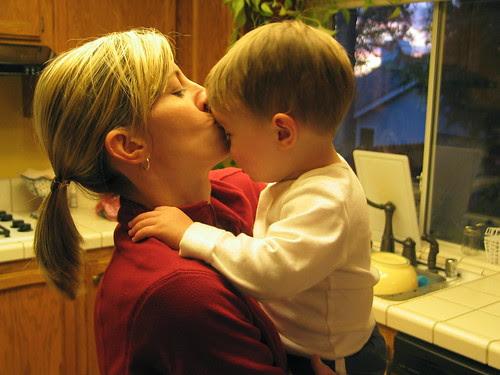 Mommy kisses.