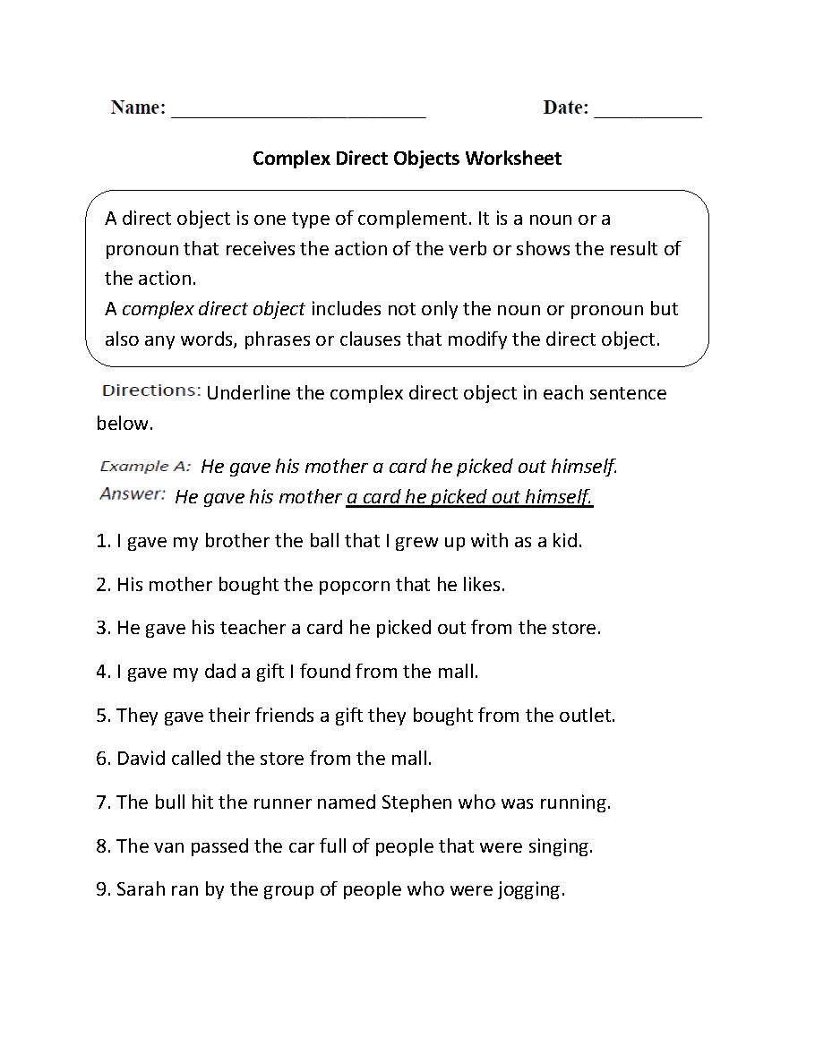 Grammar Worksheets Parts Of A Sentence Worksheets