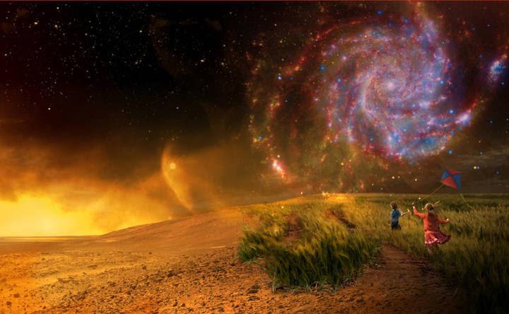 Ilustración sobre el descubrimiento de vida en otros planetas.