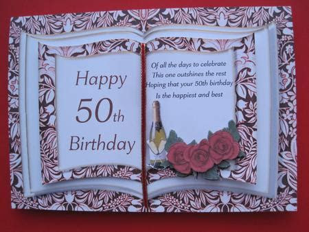 Book Card 50th Birthday   CUP173569 545   Craftsuprint