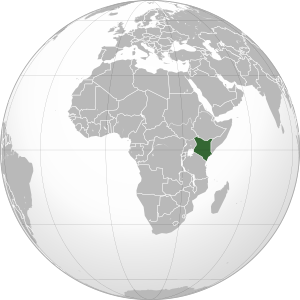 Orthographic projection map of Kenya highlight...