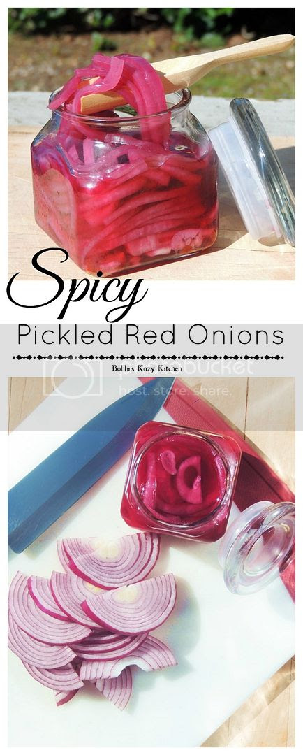 Spicy Picked Red Onions - So simple, these bright, crisp, spicy little slices of heaven are perfect for burgers, sandwiches, tacos, and so much more! | From www.bobbiskozykitchen