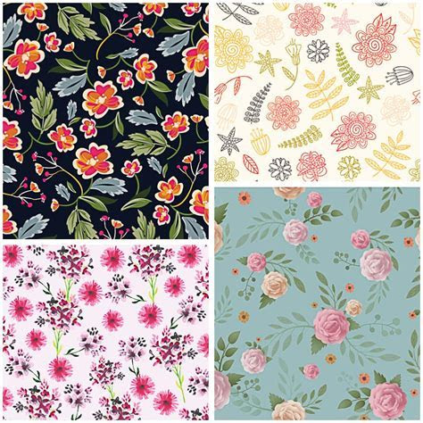Floral retro painted pattern set vector   Free download