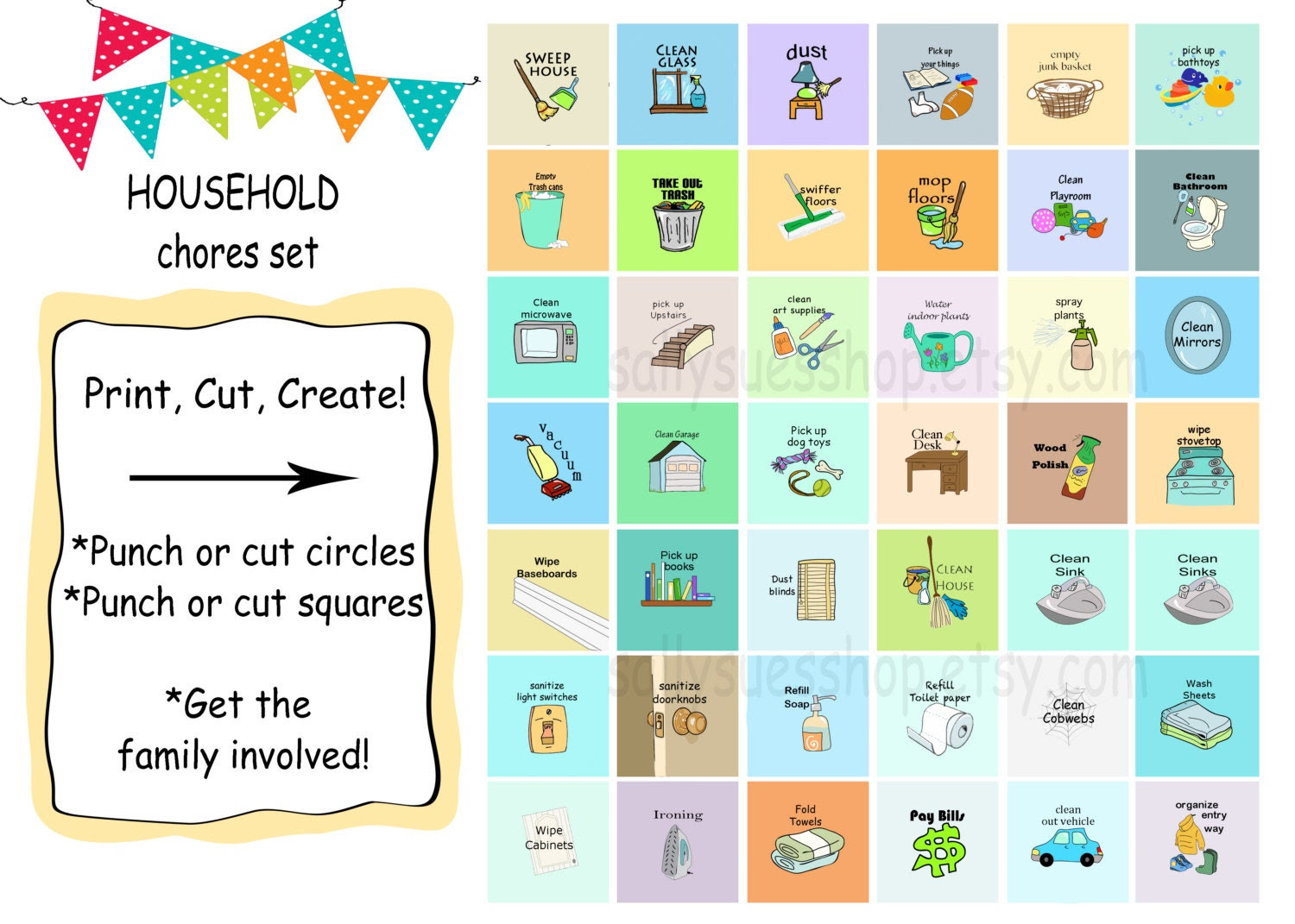 DAILY CHORES Printable chores/digital collage/1 by SallySuesShop