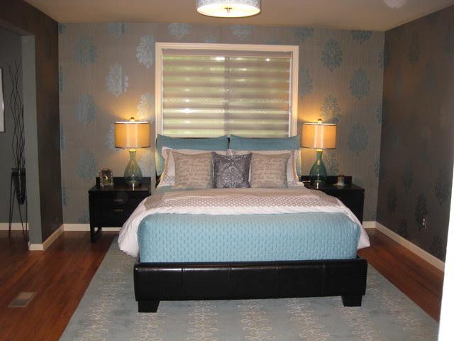 Master Bedroom with Wallpaper - Contemporary - Bedroom ...