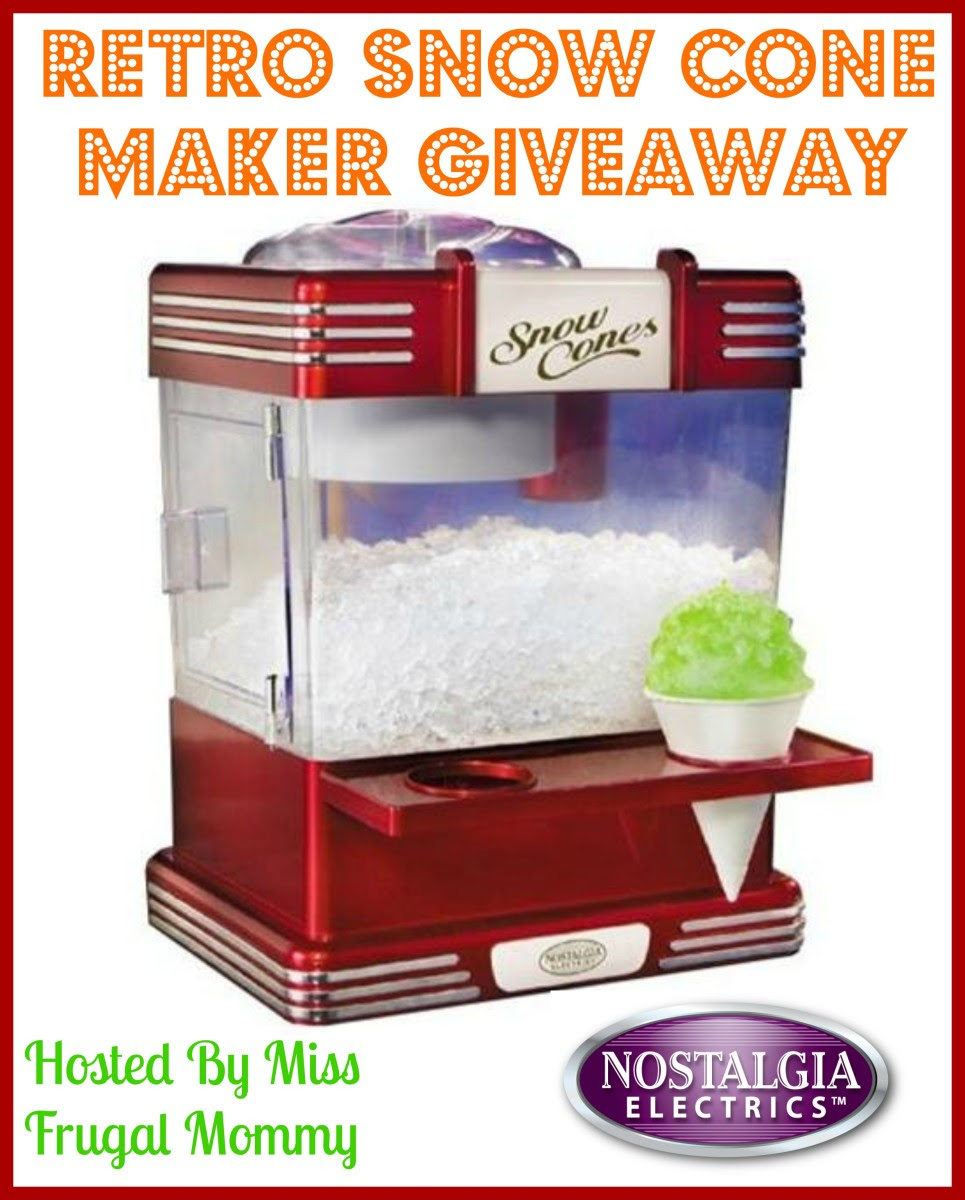 Enter the Nostalgia Electrics Retro Snow Cone Maker Giveaway. Ends 5/25.
