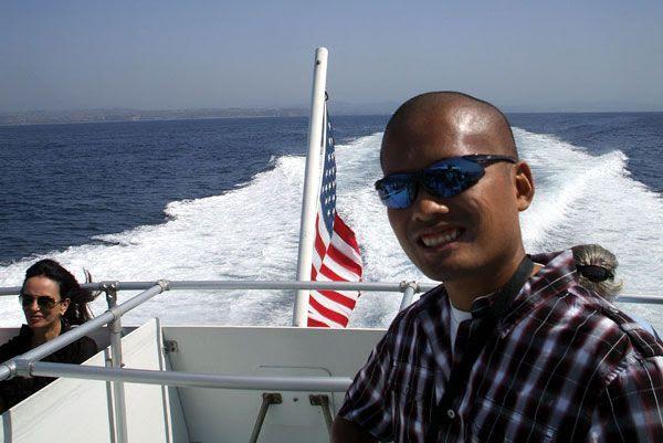Cruising away from Dana Point in Orange County, California, to head to Catalina Island...on October 4, 2013.