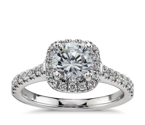 Cushion Halo Diamond Engagement Ring in Platinum (1/3 ct