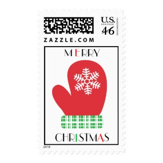 Merry Christmas Mitten Postage Stamps