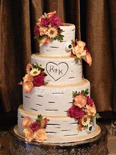 Birch Wood with Fall gumpaste flowers wedding Cake