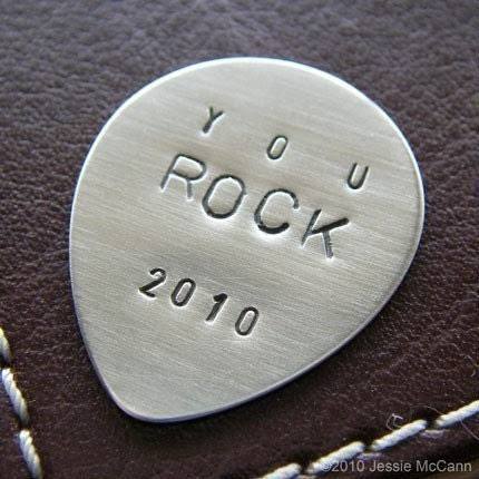 Guitar Pick- Personalized Sterling Silver Hand Stamped- Perfect Gift for Grads and Dads