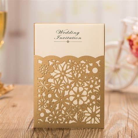 Gold Laser Cutting Invitation Cards,Gold Wedding