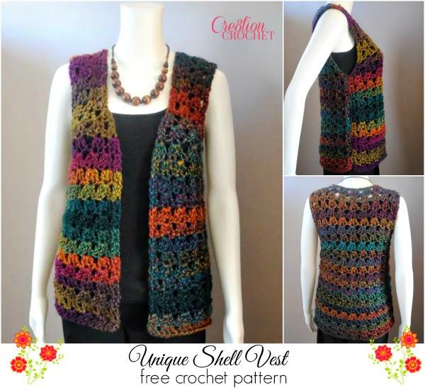 Unique Shell Chaleco crochet GRATIS patrón # cr8tioncrochet