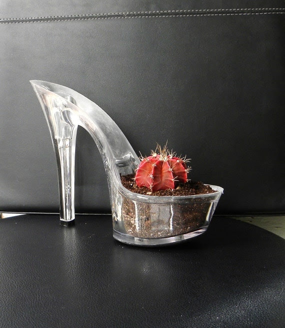 Harlot. stiletto cactus planter. reclaimed lucite high heel shoe. feminist art