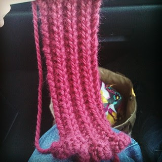 Thanksgiving car #knitting #alpaca #scarf Matts going to find red alpaca fuzzies in his truck for months