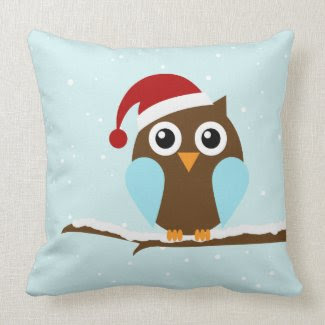Cute Christmas Owl Throw Pillows