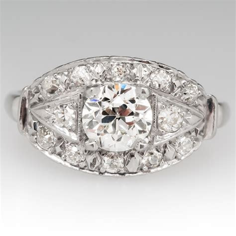 1930's Engagement Ring Old European Cut Diamond Platinum
