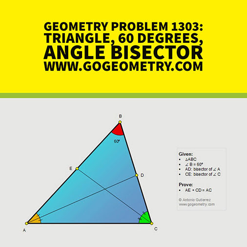 Typography of Geometry Problem 1303, Triangle, 60 Degrees, Angle Bisector, iPad Apps, Mobile, Art, Class, Tablet