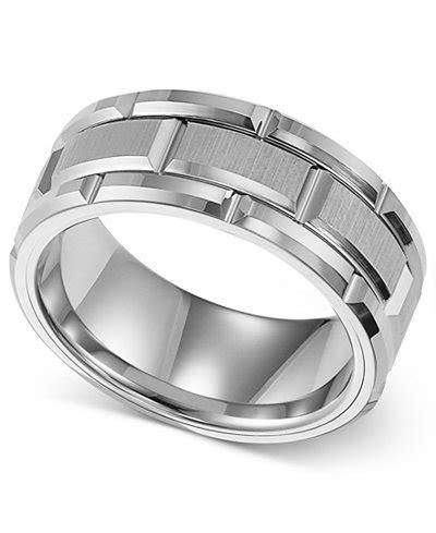 Triton Men's Ring, 8mm White Tungsten Wedding Band   Rings