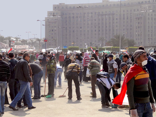 Clean up Tahrir Square - 25 Jan 2011 Egypt Revolution