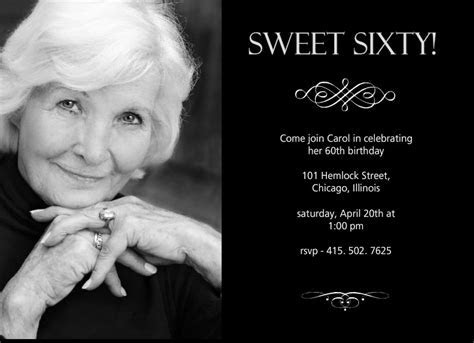 60th Birthday Invitations   Sweet Sixty Birthday Invitation