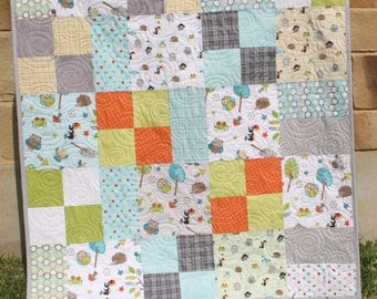 Hometown Baby Quilt Boy Blanket Americana by SunnysideDesigns2