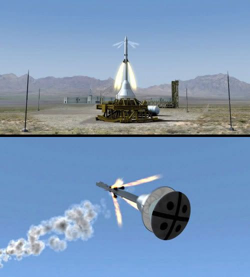 TOP PIC: A computer rendition of a launch abort system (LAS) test taking place in White Sands, New Mexico.  BOTTOM PIC: A computer rendition showing NASA's ORION Crew Exploration Vehicle separating from its LAS during flight.