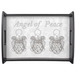 Three Silver Filigree Christmas Angels of Peace Serving Tray