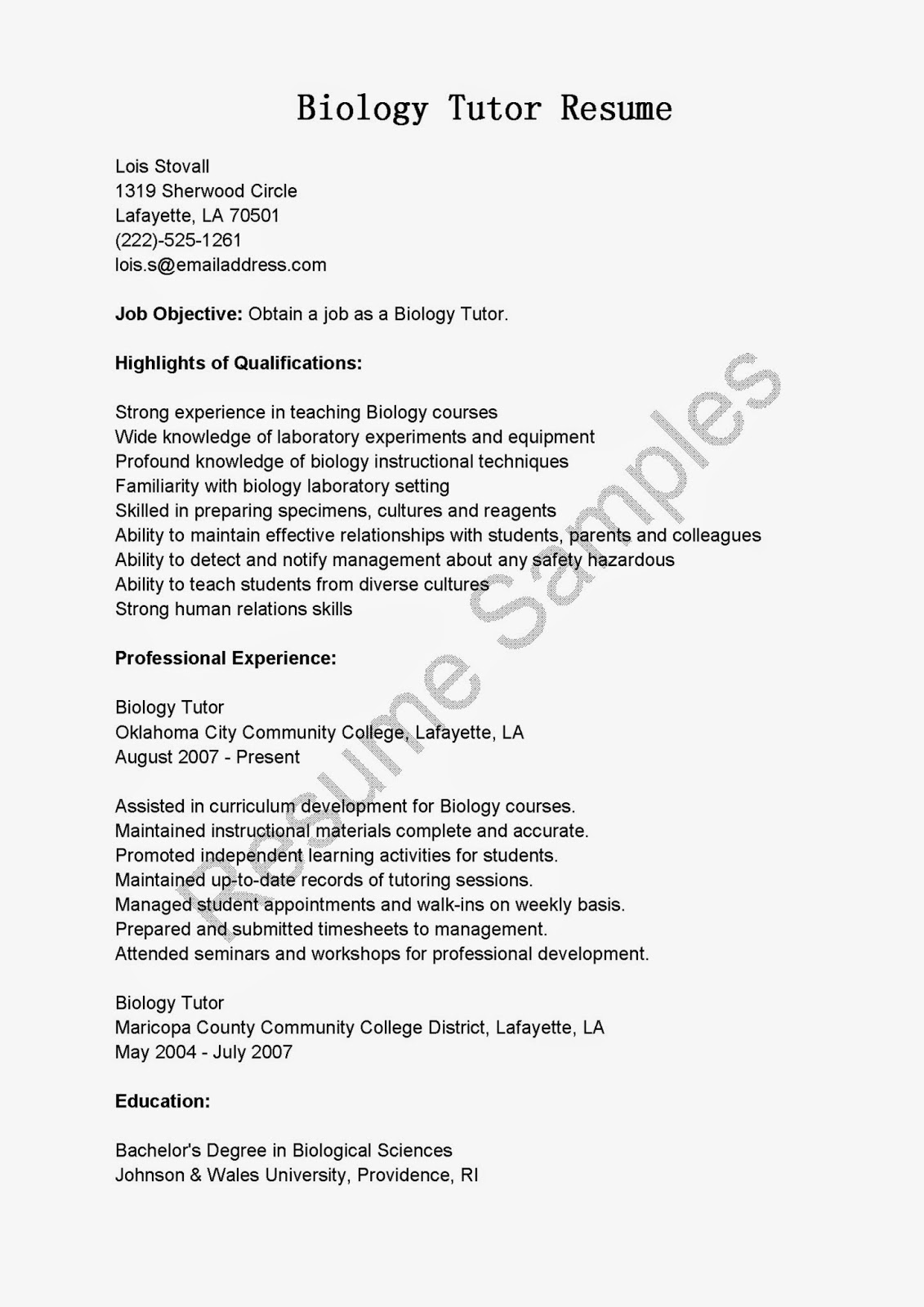 Biology Student Resume Examples Best Resume Examples