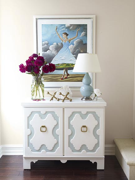 foyer with Robert Abbey Double Gourd Lamp in baby blue, draper style dresser, white and blue and pink decorating