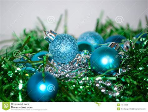 Blue And Green Christmas Decorations Stock Photo   Image