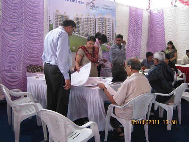 Property buyers finalizing their flats at the launch of DSK Kunjaban - 1 BHK 2 BHK Flats - Punawale - off Mumbai Bangalore Bypass - Pune 411 045