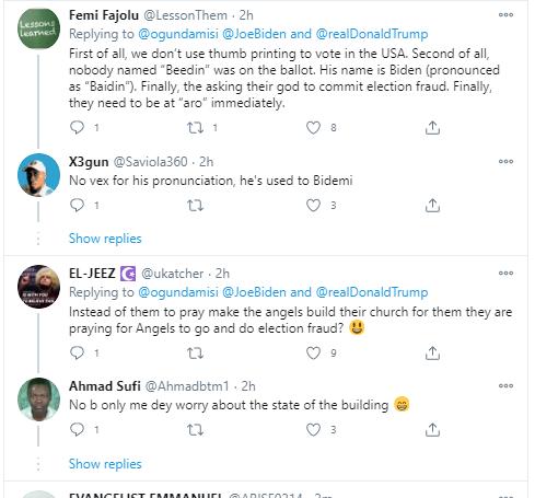 Viral video of Nigerian Christians praying for Joe Biden