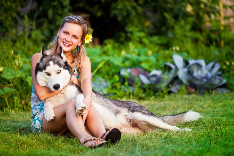 Девушка и собака породы сибирский хаски. Фото