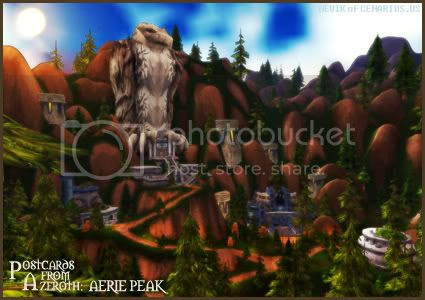 Rioriel and Nevik's daily World of Warcraft screenshot presentation of significant locations, players, memorable characters and events, assembled in the style of a series of collectible postcards. -- Postcards of Azeroth: Aerie Peak