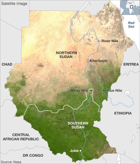 Satellite image showing geography of Sudan, source: Nasa