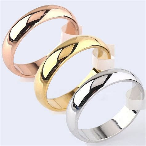 4mm Round 18K Yellow White/Rose Gold Plated Ring Men/Women