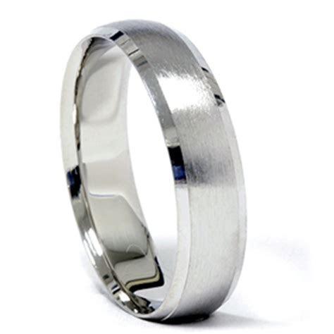 Platinum Wedding Band Mens Brushed Beveled Ring   eBay