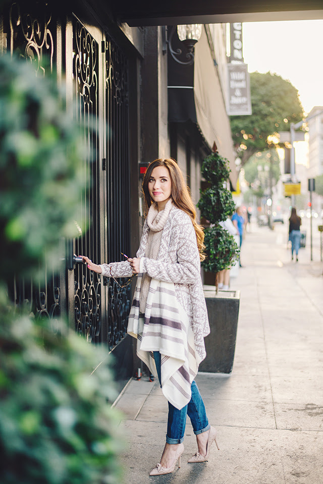 fair isle cardigan with blush turtleneck sweater by M Loves M