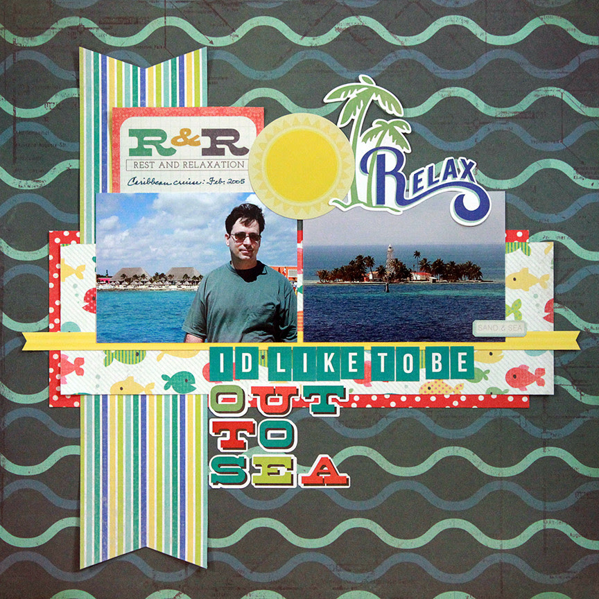 I'd like to be out to sea is a two-photo scrapbook page based on the Beatles' song Octopus' Garden.