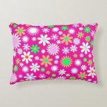 Pink Flower Power Accent Pillow